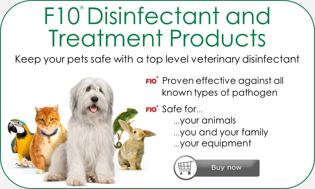 An advert for F10 Disinfectant and Treatment Products