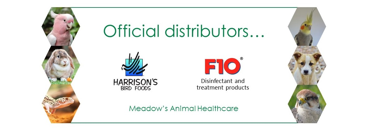 A banner stating that Meadow's Animal Healthcare is official UK distributors of Harrison's Bird Foods and F10 Disinfectant and Treatment Products